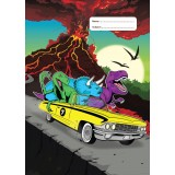 "Exercise Book Cover Scrapbook ""Jurassic Joyride"" Volcano"